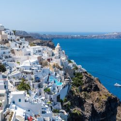 Santorini travel Europe passport EHIC view Sea